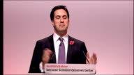 Ed Miliband speech SCOTLAND Oban 2010 Scottish Labour Party Conference INT Ed Miliband onto stage and to podium as audience applaud Ed Miliband MP...