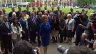 Scottish National Party MP's outside the Houses of Parliament after the general election
