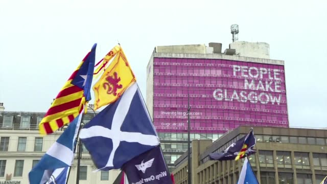 Scottish nationalists and Catalans march from George Square to the Spanish Civil War memorial in Glasgow on the day the Scottish National Party...