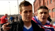 Rangers beat Celtic Vox pops Rangers fan kissing the camera and others along Reporter to camera
