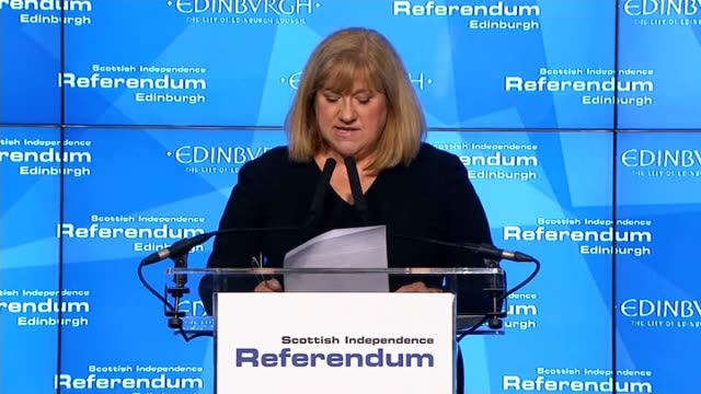 ITV News Special Clean Feed 0200 0300 Edinburgh Ingliston Mary Pitcaithly announcing turnout statistics for following areas SOT Ballots counted...