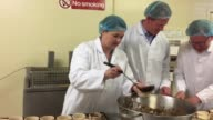 Scottish Tory leader Ruth Davidson fills Scotch pies at the Express Bakery in Dumfries in run up to the General Election