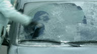 MS Scraping ice of car front glass / Kastel, Rhineland-Palatinate, Germany