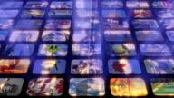 Scrolling media related LOOP. Multimedia Wall, Information Medium, Television, Broadcasting.