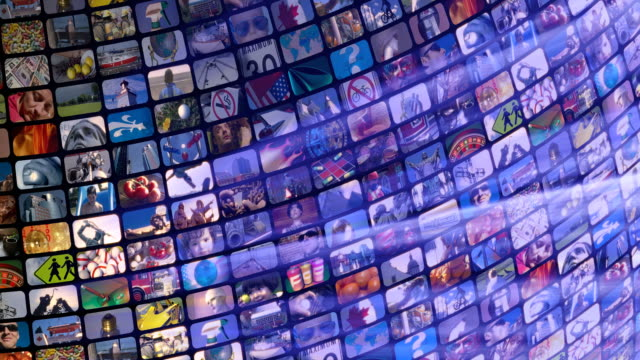Scrolling media related LOOP. Multimedia Wall, Information Medium, Television, Broadcasting.