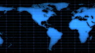 Scrolling World Map Over Blue Grid, HD