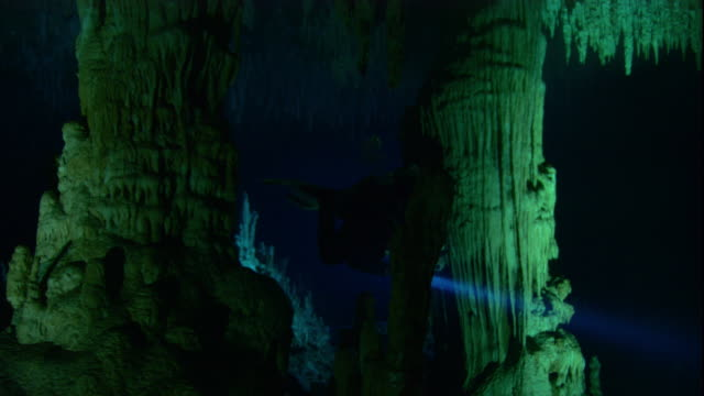 A scuba diver swims past stalactites and rock pillars in a cenote cave, Yucatan, Mexico. Available in HD.