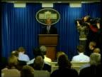 Scud missile shipment intercepted POOL Washington The White House White House spokesman Ari Fleischer to podium Ari Fleischer press conference SOT...