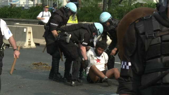 Scuffles broke out at a Chicago protest which turned ugly late Sunday when a few hundred antiNATO demonstrators demanding an end to destructive wars...