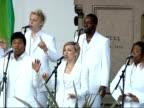 Nelson Mandela statue unveiled in Parliament Square London Gospel Choir singing / crowd listening