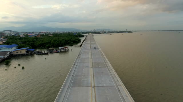 Sea bridge aerial, maritime transport ,chonburi thailand
