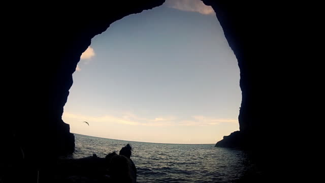 Sea cave rafting with birds overhead