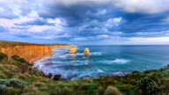 sea wave and skyline at shore of twelve apostles, timelapse.