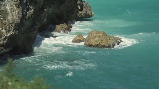 MS Sea waves splashing on rocks, St. Michael's, Bridgetown, Barbados