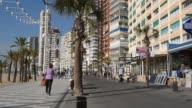 Seafront promenade in Benidorm city. Spain