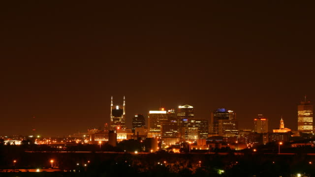 Seamless loop lower third downtown Nashville at night HD