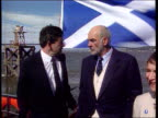 Knighthood NAT SCOTLAND Firth of Forth GVs Sean Connery standing on boat beside Gordon Brown MP LIB Inverness Int Connery up stairs at SNP conference...