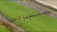 Search for missing boy Mikaeel Kular continues SCOTLAND Edinburgh VIEWS / AERIALS search party searching grassland and undergrowth along Firth of...