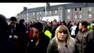 Search for missing boy Mikaeel Kular continues SCOTLAND Edinburgh EXT Police officer addressing crowd outside community centre building SOT Thank you...