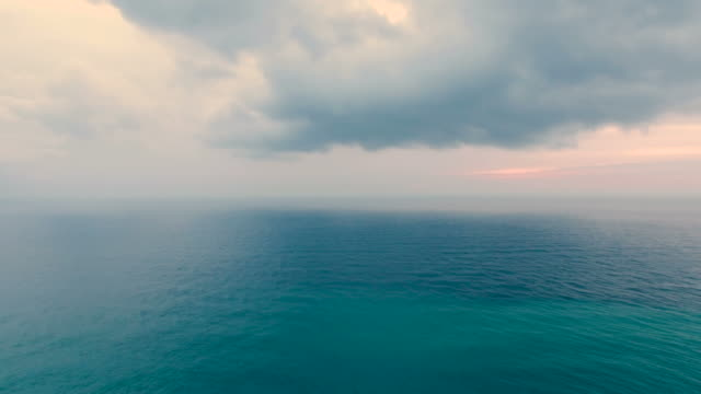 seascape in early morning, aerial video