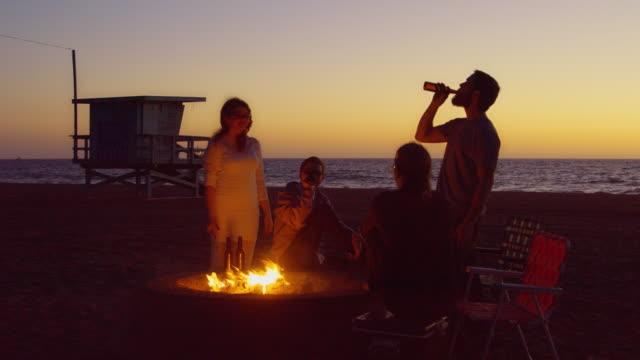 Seaside Bonfire After Sunset