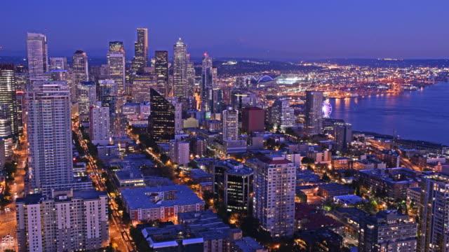 Seattle cityscape at sunset timelapse