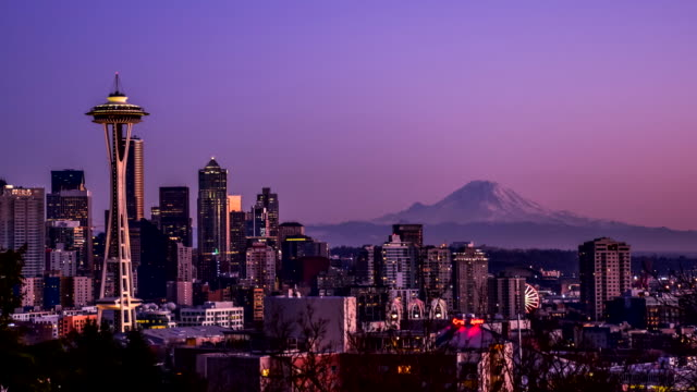 Seattle cityscape  time lapse at sunset