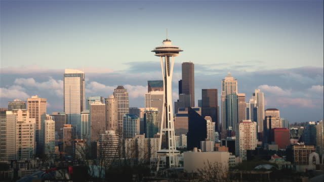 T/L WS Seattle skyline with Space Needle in foreground at sunset, Washington, USA