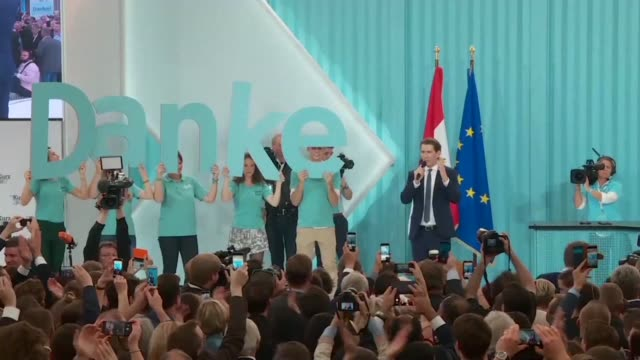 Sebastian Kurz the leader of Austria's People's Party thanks supporters after early results show him on course to become Europe's youngest leader