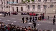 Second World War ITV VE Day 70th Anniversary Special PAB **Music heard SOT** Royal Marines buglers playing last post SOT Standard bearers with flags...