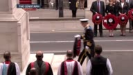 Second World War ITV VE Day 70th Anniversary Special PAB Various of Prince Andrew placing wreath at cenotaph