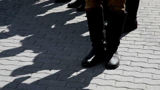 Second World War soviet army parade boots close up
