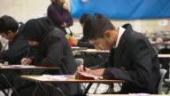 Secondary school students sitting in classroom undergoing exam