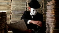 Secret Agent Reading Newspaper In Dark For Censorship