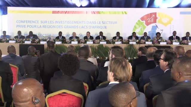 UN secretary general Ban Ki moon opens an investment conference in the Democratic Republic of Congo as part of his Africa tour as President Joseph...