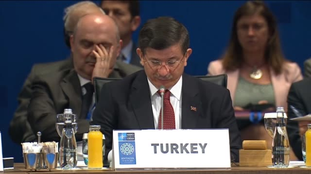 Secretary General of NATO Jens Stoltenberg and Turkish Prime Minister Ahmet Davutoglu make speech during the NATO Foreign Ministers' meeting in...