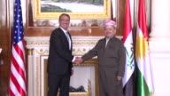 Secretary of Defence Ashton Carter is received by President of the Iraqi Kurdistan Region Masoud Barzani at the presidential palace in Erbil the...