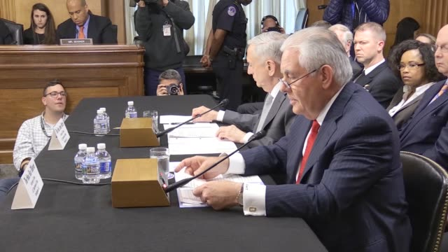 S Secretary of Defense James Mattis and US Secretary of State Rex Tillerson attend a Senate Foreign Relations Committee hearing on 'The...