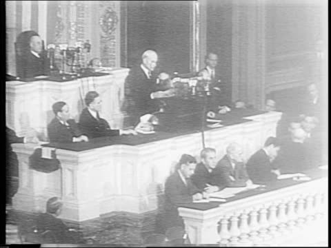Secretary of State Cordell Hull gives highlights of Moscow conference to Congress / Hull warns that there will be no mercy for Hitler