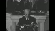 Secretary of State Cordell Hull standing on rostrum reports to US Congress about the Third Moscow Conference from which he has just returned SOT Hull...