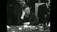 Secretary of State Dean Acheson UK representative and Secretary General of UN Gladwyn Jebb USSR Foreign Minister Andrey Vyshinsky at seats as they...