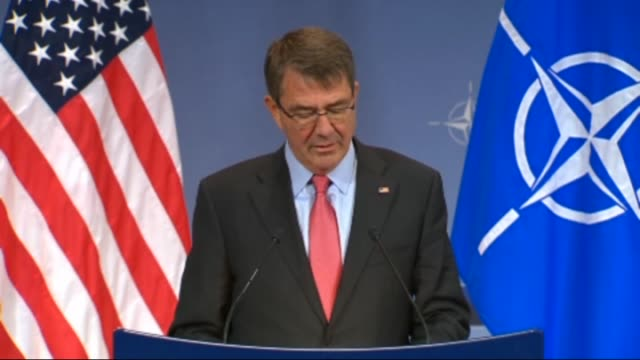 Secretary of State for Defense Ashton Carter speaks during a press conference on the second day of the NATO Defense Ministers Council at alliance...