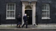 Secretary of State for Work and Pensions Iain Duncan Smith and Home Secretary Theresa May arrives at Downing Street before a cabinet meeting on...