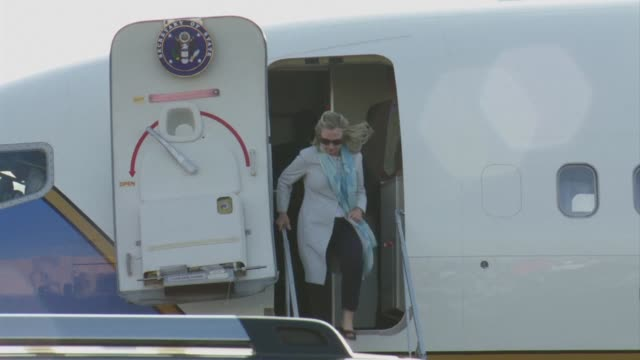 US Secretary of State Hillary Clinton arrives in Los Cabos in Mexico for the G20 summit CLEAN Hilary Clinton arrives in Los Cabos for G20 on June 18...