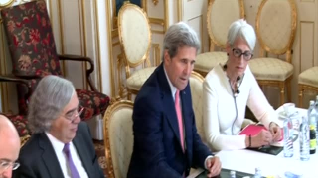 Secretary of State John Kerry and Iran's Minister of Foreign Affairs Mohammad Javad Zarif meet to hold talk over drafting the text of a final deal on...