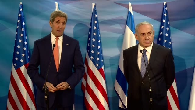 Secretary of State John Kerry and Prime Minister of Israel Benjamin Netanyahu hold a joint press conference ahead of their meeting in Jerusalem...