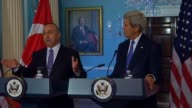 S Secretary of State John Kerry and Turkish Minister of Foreign Affairs Mevlut Cavusoglu hold a joint press conference before a bilateral meeting at...