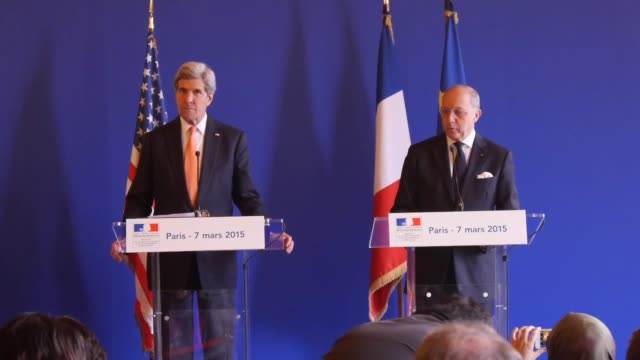 Secretary of State John Kerry attends a joint press conference with French Foreign Affairs Minister Laurent Fabius in Paris France on March 7 2015...