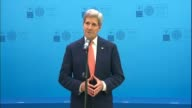 S Secretary of State John Kerry holds a press conference before Atlantic Council Summit at NATO Foreign Ministers meeting in Antalya Turkey on May 13...