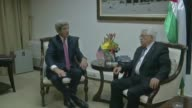 US Secretary of State John Kerry meet with Palestinian president Mahmud Abbas on a third day of shuttle diplomacy to push forward the...